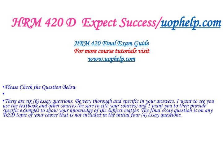 Hrm 420 d expect success uophelp com1