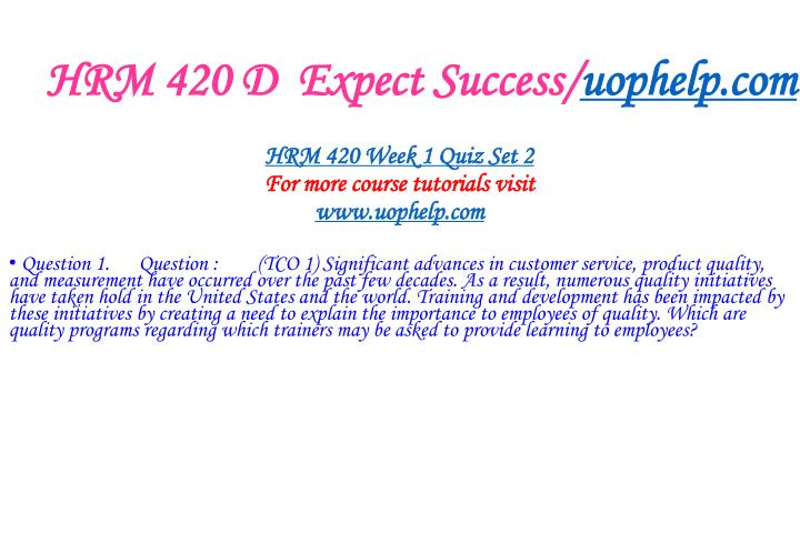 HRM 420 D  Expect Success