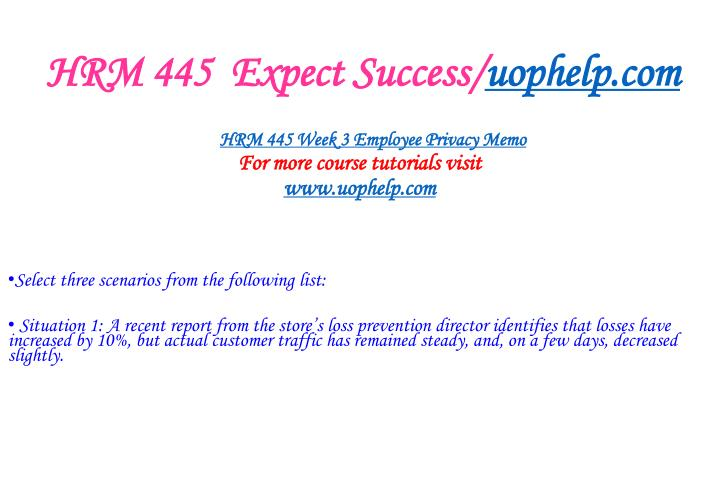 HRM 445  Expect Success