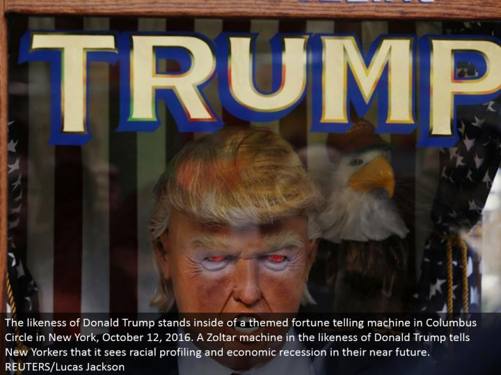 The resemblance of Donald Trump remains within a themed fortune telling machine in Columbus Circle in New York, October 12, 2016. A Zoltar machine in the resemblance of Donald Trump tells New Yorkers that it sees racial profiling and monetary subsidence in their not so distant future. REUTERS/Lucas Jackson