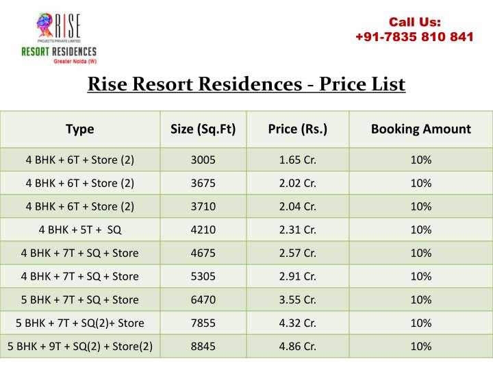 Rise resort residences price list