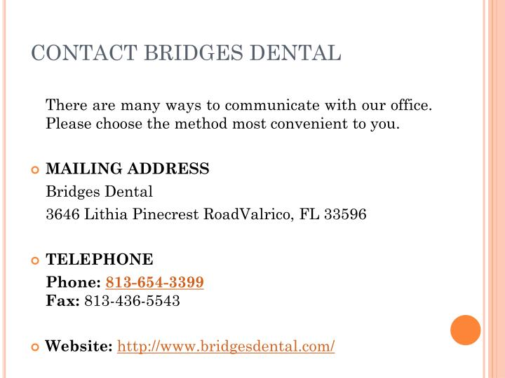 CONTACT BRIDGES DENTAL