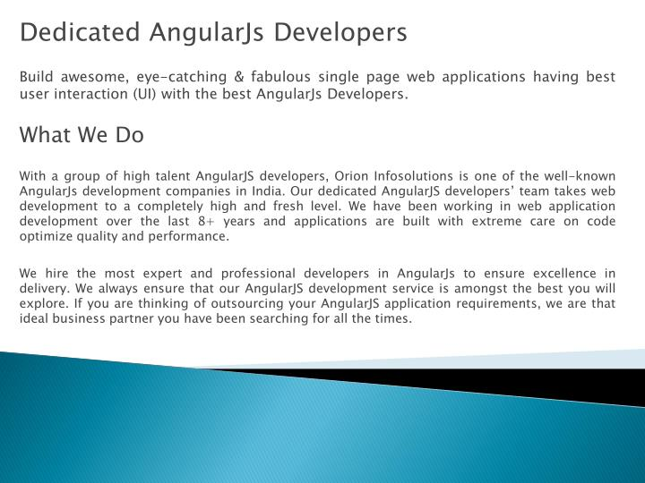 Dedicated AngularJs Developers