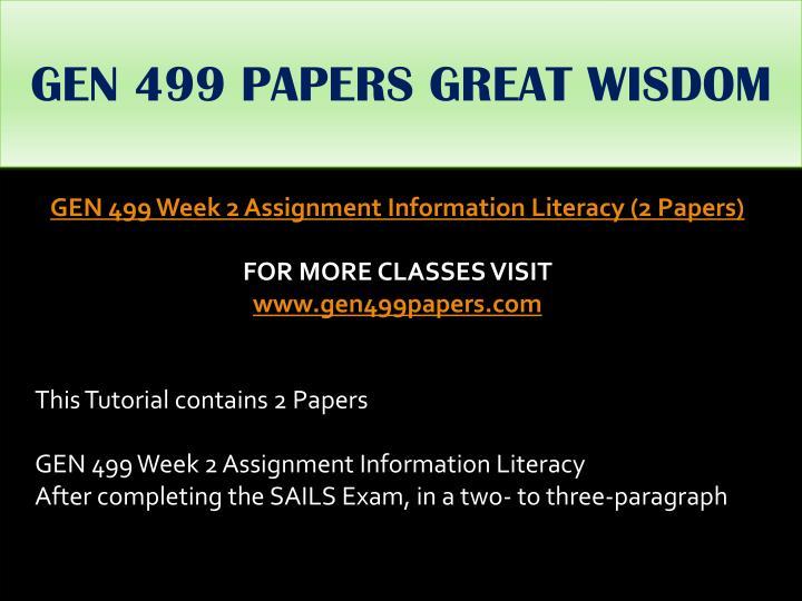 GEN 499 PAPERS GREAT WISDOM