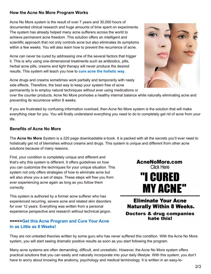 How the Acne No More Program Works