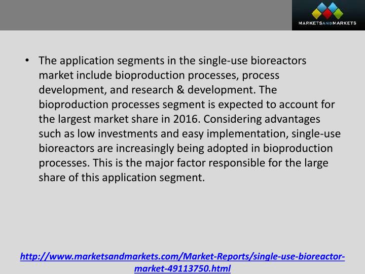 The application segments in the single-use bioreactors market include