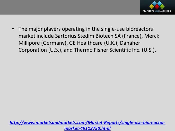 The major players operating in the single-use bioreactors market include Sartorius