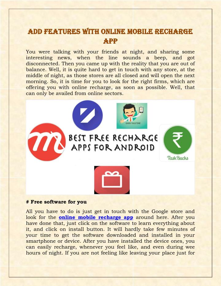 Add Features With Online Mobile Recharge