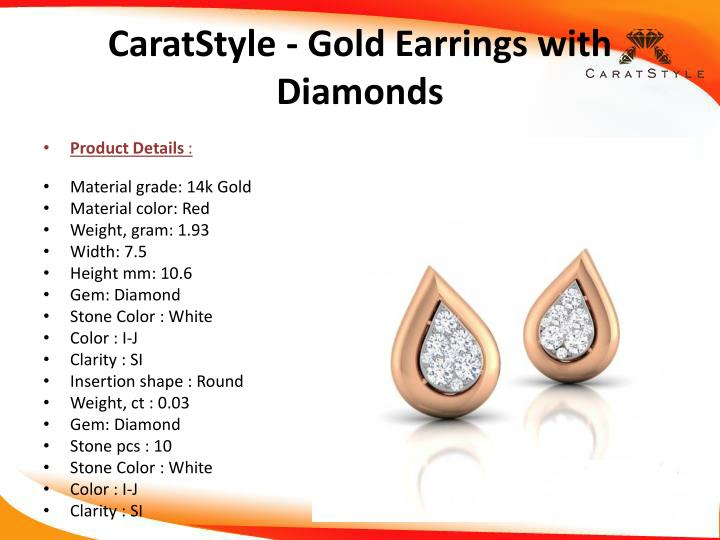 CaratStyle - Gold Earrings with Diamonds