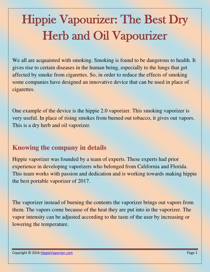 Hippie Vapourizer: The Best Dry