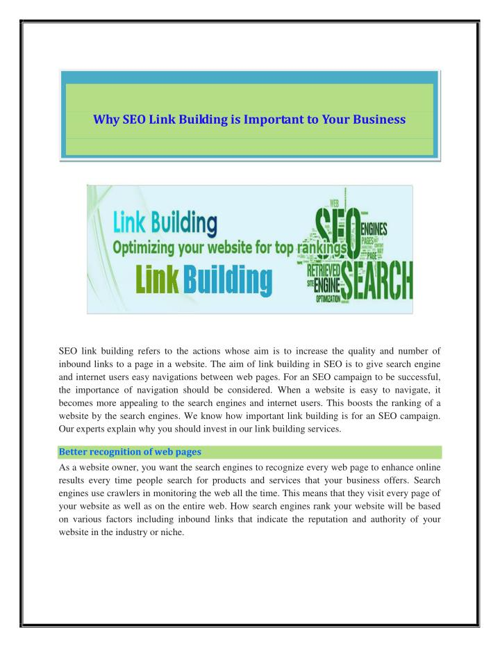 Why SEO Link Building is Important to Your Business