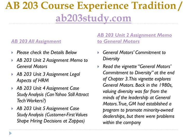 Ab 203 course experience tradition ab203study com1