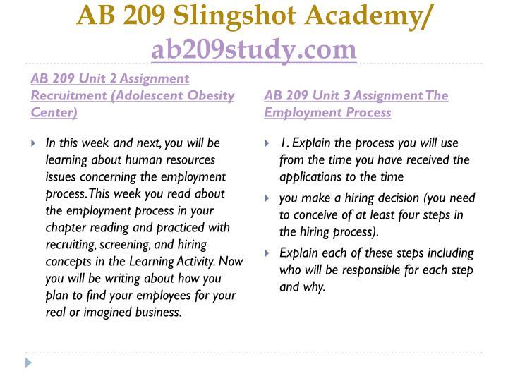 AB 209 Slingshot Academy/