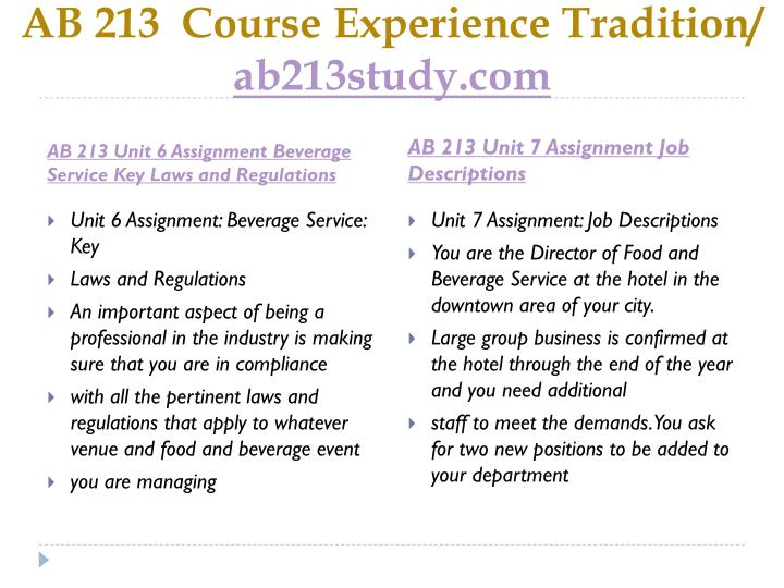 AB 213  Course
