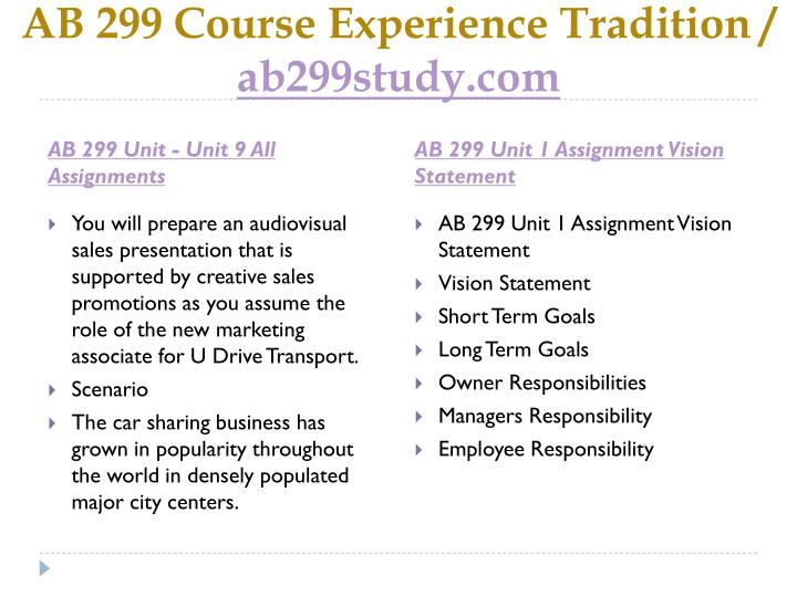 AB 299 Course Experience Tradition /