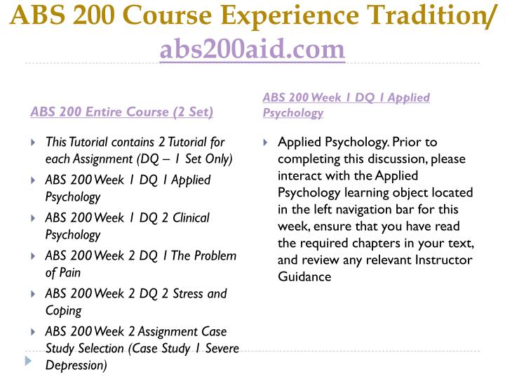 Abs 200 course experience tradition abs200aid com1