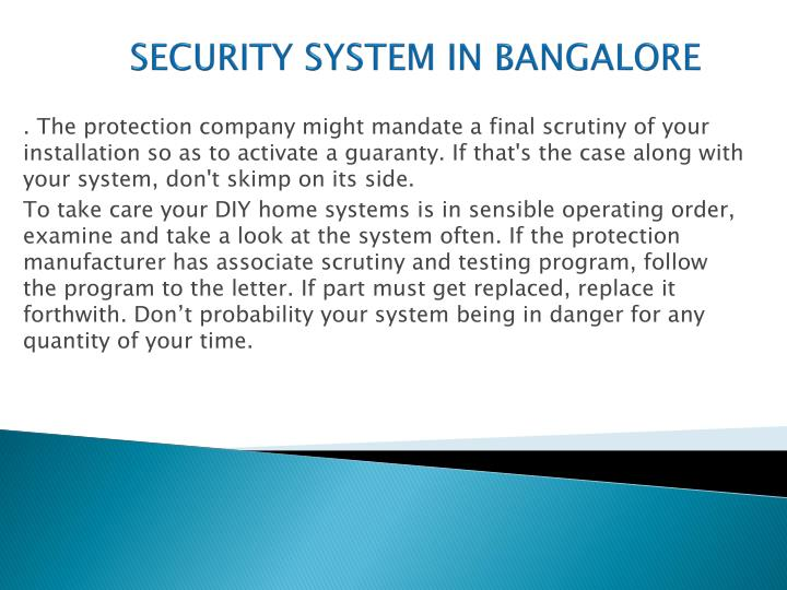 SECURITY SYSTEM IN BANGALORE