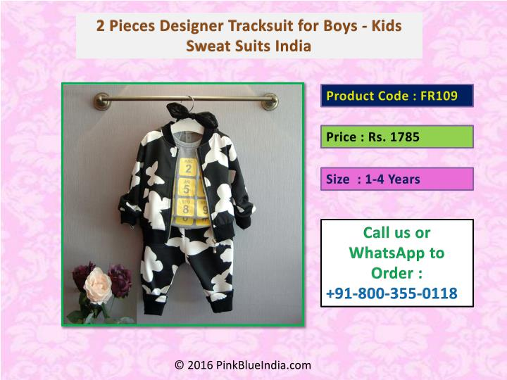 2 Pieces Designer Tracksuit for Boys - Kids Sweat Suits India