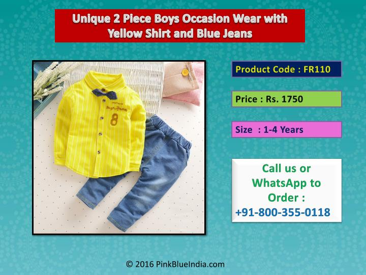 Unique 2 Piece Boys Occasion Wear with Yellow Shirt and Blue Jeans