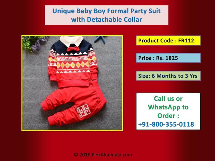 Unique Baby Boy Formal Party Suit with Detachable Collar