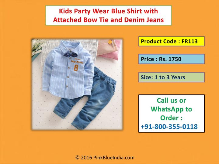 Kids Party Wear Blue Shirt with