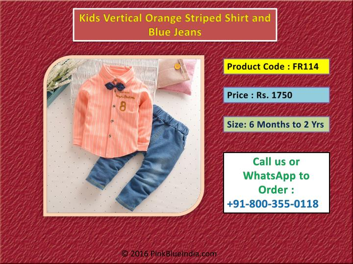 Kids Vertical Orange Striped Shirt and Blue Jeans