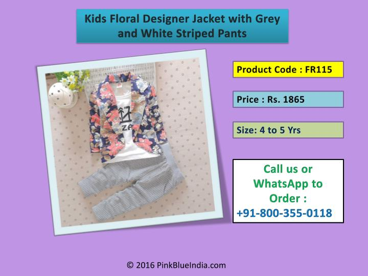 Kids Floral Designer Jacket with Grey and White Striped Pants