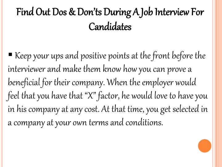 Find Out Dos & Don'ts During A Job Interview For