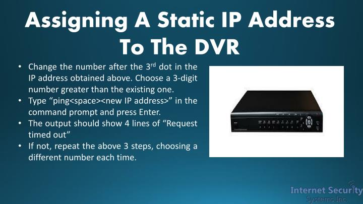 Assigning A Static IP Address To The DVR