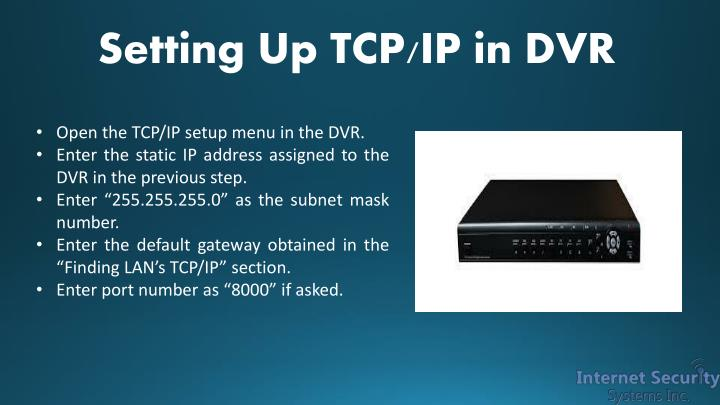Setting Up TCP/IP in DVR