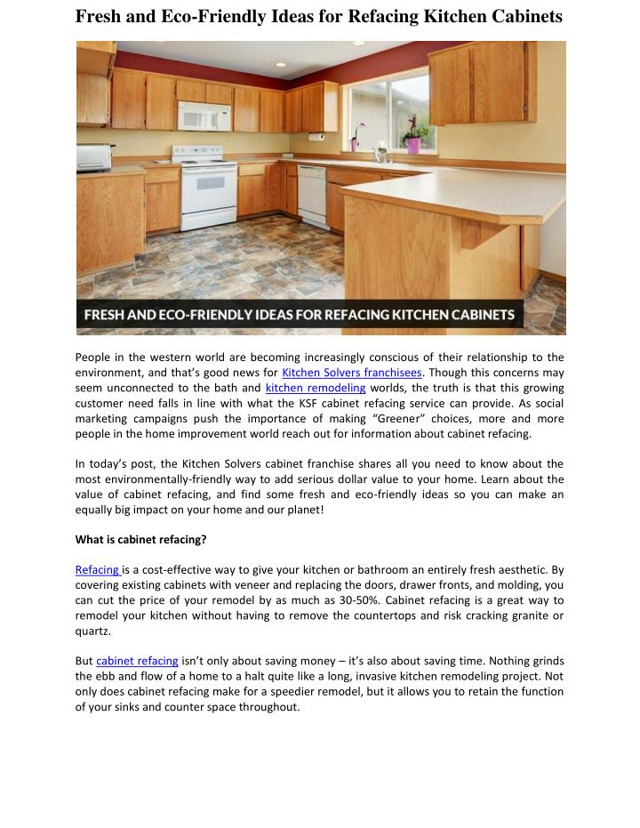 Fresh and Eco-Friendly Ideas for Refacing Kitchen Cabinets