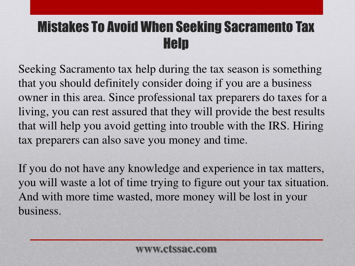 Mistakes to avoid when seeking sacramento tax help1