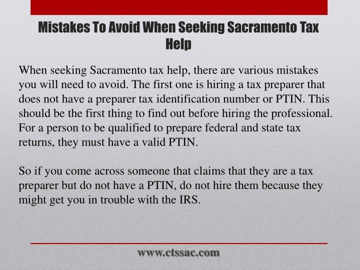 Mistakes to avoid when seeking sacramento tax help2