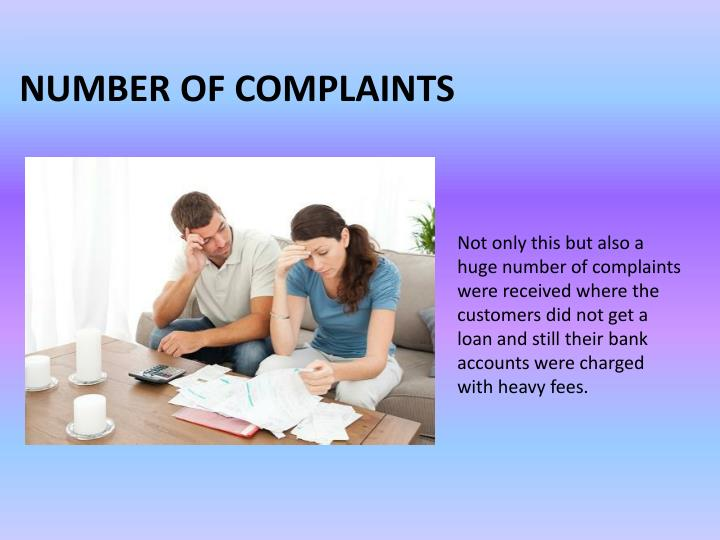 Number of complaints