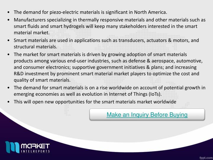 The demand for piezo-electric materials is significant in North America.