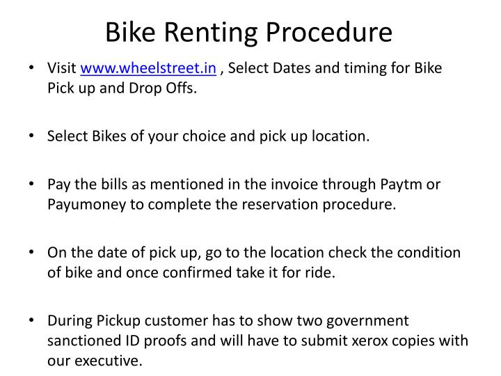 Bike renting procedure
