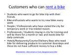customers who can rent a bike