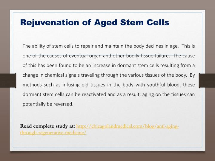 Rejuvenation of Aged Stem Cells