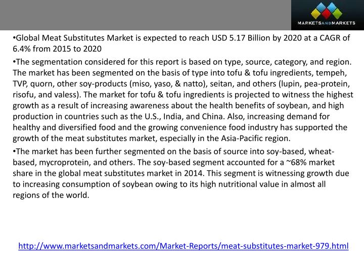 Global Meat Substitutes Market is expected to reach USD 5.17 Billion by 2020 at a CAGR of 6.4% from ...