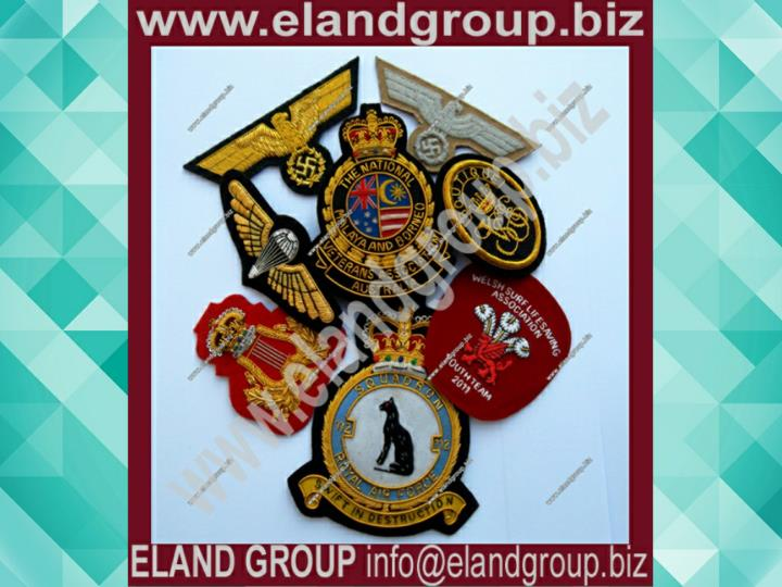 Embroidered bullion badges