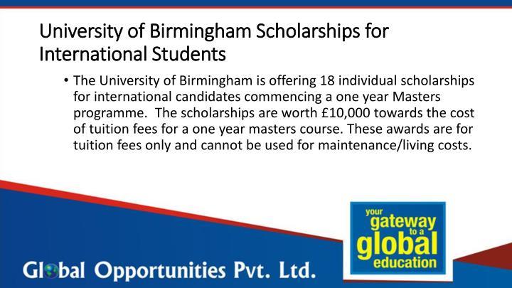 University of Birmingham Scholarships for International