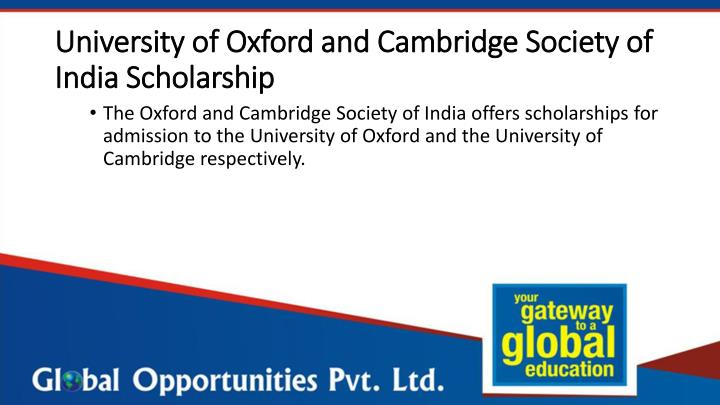 University of Oxford and Cambridge Society of India Scholarship