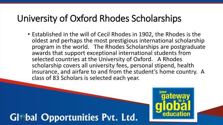 University of Oxford Rhodes Scholarships