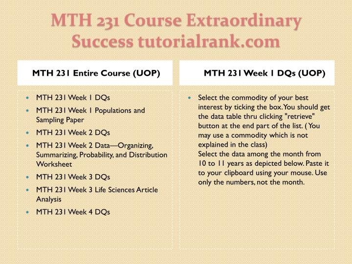 MTH 231 Entire Course (UOP)