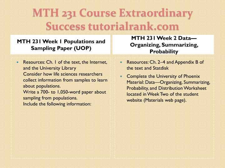 MTH 231 Week 1 Populations and Sampling Paper (UOP)