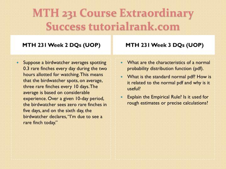 MTH 231 Week 2 DQs (UOP)