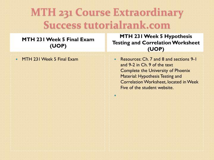 MTH 231 Week 5 Final Exam (UOP)