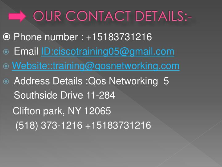 OUR CONTACT DETAILS:-