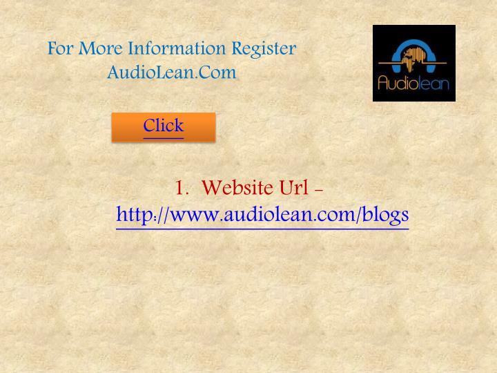 For More Information Register