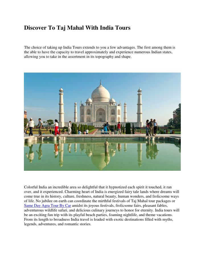 Discover To Taj Mahal With India Tours